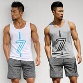 排汗衣 運動健身背心男套裝T恤無袖速干跑步籃球坎肩