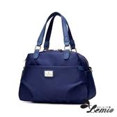 【Lemio】韓版牛津布純色設計手提斜跨兩用肩背托特包(天空藍)