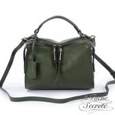 La Poche Secrete 側背包 真皮皮飾流蘇垂墜包(小)-森林綠 DOE-9871-1