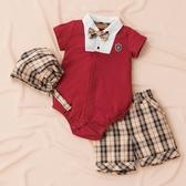 【金安德森】春夏彌月禮盒-紳士男孩假二件短褲套裝-紅色