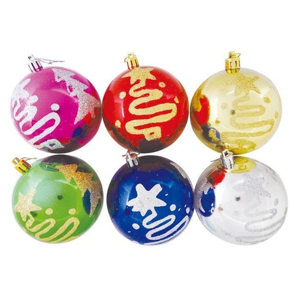 亮粉聖誕球吊飾 (6入) | OS小舖