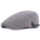 鴨舌帽-秋冬格子縫線棉質男女貝雷帽2色73tv113[時尚巴黎]