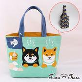 【Tiara Tiara】純棉柴犬綠帆布袋x滿版柴犬飲料提袋(兩件組) 網路限定