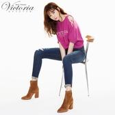 Victoria中腰割破剪接口袋9分褲-女-深藍-S.M.L.XL