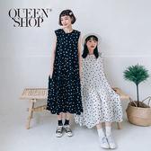 Queen Shop【01084595】黑白波點傘擺無袖長洋裝 兩色售*現+預*