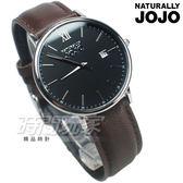 NATURALLY JOJO 羅馬城市對錶 真皮錶帶 防水手錶 黑x咖啡 女錶 JO96938-88F