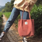 帆布包2020新款燈芯絨側背包女韓國學生帆布包大容量文藝簡約百搭購物袋 新年禮物