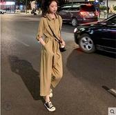 套裝 網紅很仙的洋氣矮個子顯高時髦直筒垂感闊腿顯瘦工裝連體褲套裝女