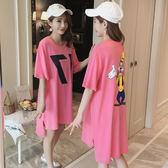現貨韓版寬鬆數字卡通印花不規則上衣體恤中長款粉紅色短袖t恤裙女潮 大尺碼連身裙
