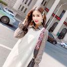 VK精品服飾 韓系襯衫假兩件針織衫長袖洋裝