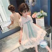 漢服女童 2019夏裝抖音新款彼岸花兒童中國風超仙改良古裝儒雅唐裝 2色