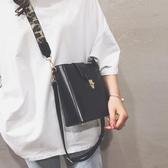 包包 小包包女韓版寬帶百搭單肩包時尚洋氣簡約斜挎水桶包 全館免運