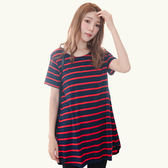 連身裙--清新活力寬條紋下擺開衩A字版型圓領短袖長上衣(黑.紅.綠L-3L)-U554眼圈熊中大尺碼◎