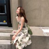夏季樹葉印花蝴蝶結綁帶單排扣棉麻背帶裙韓版中長連身裙   韓小姐