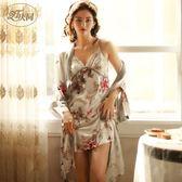 全館83折 慶同睡袍女薄款日式和服夏季長款冰絲吊帶裙兩件套裝春秋性感睡衣
