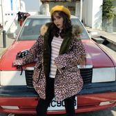 豹紋棉服女加厚2018新款韓版寬松流蘇毛內膽bf原宿風毛領