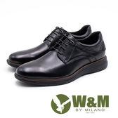 W&M 氣墊舒適 休閒款綁帶男皮鞋-黑