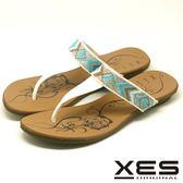 XES 夾腳拖鞋 民俗風設計 有型好穿 真皮耐穿 舒適皮中墊_白色