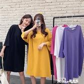T恤 2021年夏季新款寬鬆歐貨大版中長款短袖t恤女裝寬鬆過臀上衣潮