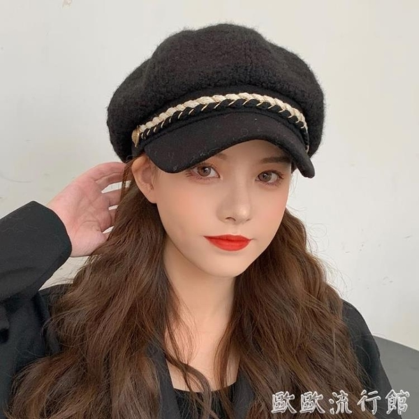 貝雷帽 可愛羊羔八角帽貝雷帽網紅保暖帽子時尚加厚秋冬女韓版百搭毛絨帽 歐歐