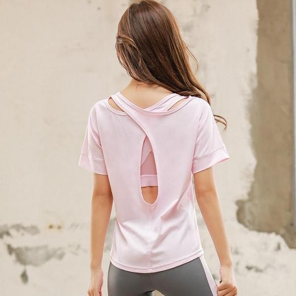 降價兩天 夏季薄款瑜伽服女短袖運動上衣健身T恤速干衣女跑步網紅健身服女‧運動