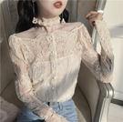 新館開業85折 網絡網紅直播衣服女主播服裝上鏡春季性感網紗透視上衣復古蕾絲衫