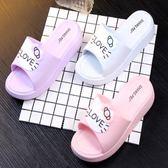 夏季新款松糕跟女鞋厚底女防滑可愛涼拖鞋韓版坡跟高跟一字涼鞋潮