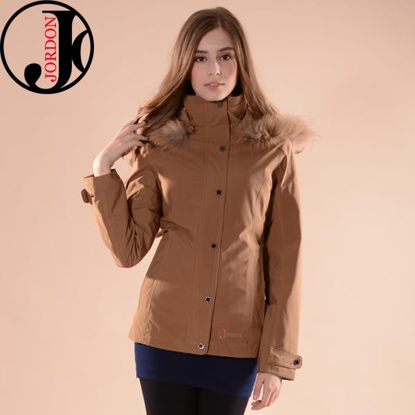 JORDON 橋登 JD1098-拿鐵 女GORE-TEX二件式大衣 都會款 保暖鵝絨外套/防水外套/防風外套/保暖防水大衣