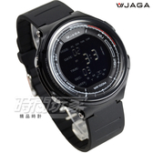JAGA捷卡 超大液晶顯示 多功能運動防水電子錶 防水 冷光 男錶 運動錶 學生錶 軍錶 M1178-AA(黑黑)