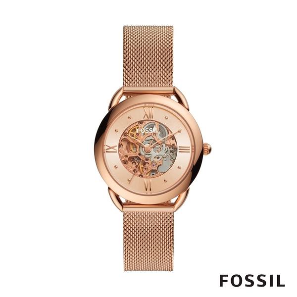 FOSSIL TAILOR 玫瑰金不鏽鋼透視機械女錶 35mm ME3165