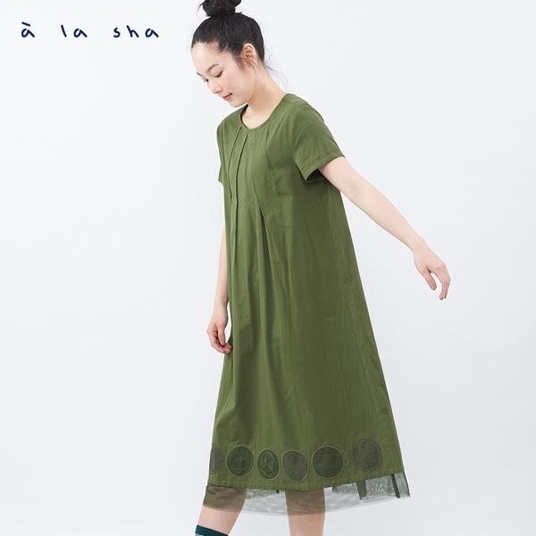 a la sha 大圓圈繡花短袖洋裝