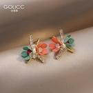 耳釘 花朵耳釘女夏季小眾溫柔氣質耳環潮設計感仙氣小巧耳飾 星河光年