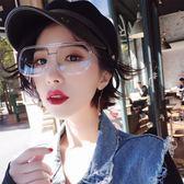 原宿風透明黃色女潮太陽鏡小臉方形墨鏡紅色眼鏡 nm1143 【VIKI菈菈】
