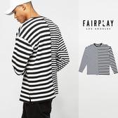【GT】FairPlay 18S/S Rakim 黑藍 長袖T恤 條紋 休閒 棉質 拼接 撞色 滿版 潮流 美牌 現貨 條紋T