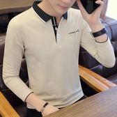 時尚休閒男長袖t恤襯衫領polo衫青年潮刺繡翻領上衣新款修身Polo