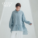Queen Shop【01023766】層次造型側綁帶素面長版襯衫 兩色售*現+預*