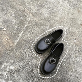 ulzzang春秋日系原宿軟妹少女愛心搭扣低跟學生圓頭小皮鞋娃娃鞋