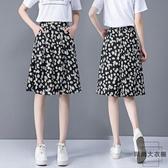 女夏時尚寬鬆顯瘦格子休閒短褲中褲五分褲七分闊腿褲【時尚大衣櫥】