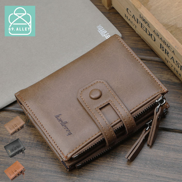 短夾 男用皮夾 皮革雙層雙零錢袋皮夾 89.Alley-HL-9914