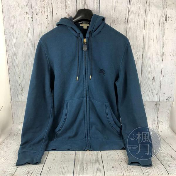 BRAND楓月 BURBERRY 經典格紋 LOGO 土耳其藍色 棉質 內刷毛 連帽 運動風 拉鍊外套