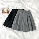 西裝短褲 灰色西裝褲女夏季薄款中褲直筒寬鬆高腰顯瘦寬管休閒五分褲短褲潮-Ballet朵朵