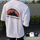 【OBIYUAN】短袖衣服 情侶 freesize 山脈 寬鬆t恤 上衣3色【K239】
