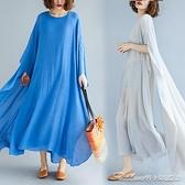 茶服中式復古棉麻夏款禪意女中國風百搭禪茶服禪舞服裝款式胖MM連身裙 阿卡娜