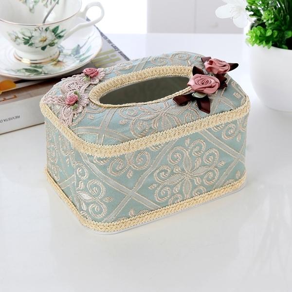 歐式田園蕾絲面包式布藝紙巾盒卷紙抽餐巾套家居車用抽紙盒【快速出貨】