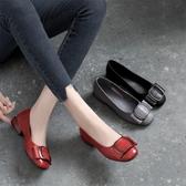 皮鞋 2020新款夏季淺口平底單鞋女真皮低跟夏款百搭春夏粗跟紅色小皮鞋 寶貝計畫