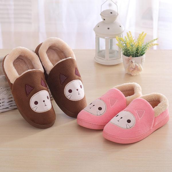 秋冬季男女款貓咪情侶棉拖鞋全包跟保暖防滑居家月子棉鞋
