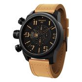 elegantsis 戰地記者硬派軍事風皮革腕錶-黑x卡其
