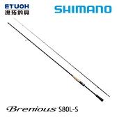 漁拓釣具 SHIMANO 19 BRENIOUS S80LS [海水路亞竿]