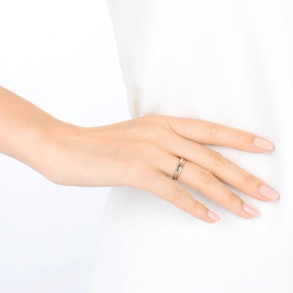 點睛品 Promessa系列 鉑金綴18K玫瑰金婚戒對戒(女戒)