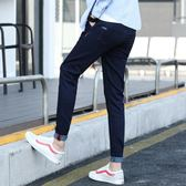 (低價促銷)新款黑色九分牛仔褲男修身正韓潮流小腳百搭秋季男士休閒褲子